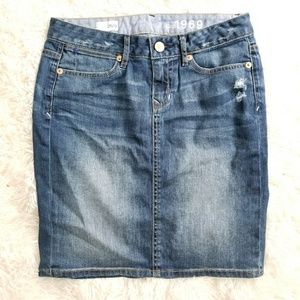 Gap girls denim straight skirt Sz 25/0 distress